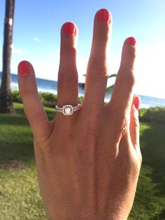 Kelly's cushion halo engagement ring - awesome photo taken right after the proposal in Hawaii