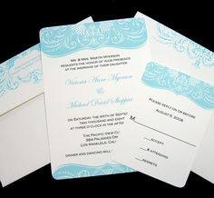 Calligraphy Scroll Wedding Invitations and reply card set - Traditional and Romantic - Shown in Tiffany Blue Sample. $2.00, via Etsy.