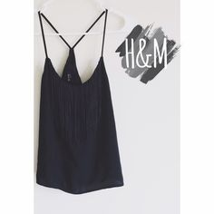 •Black H&M Fringe Top• This H&M top is perfect with a pair of white skinnies! It's only been worn once. No flaws. The fringe hangs perfectly. The top is all black and in excellent condition. Please feel free to ask any other questions. •I do NOT trade•  H&M Tops Tank Tops