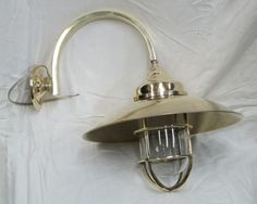 Vintage New Marine Nautical Brass Wall Bend Bracket Brass Shade Ship Light   Material: Brass  Size  Height: 35cm Approximately  Weight: 1.420kg Approximately