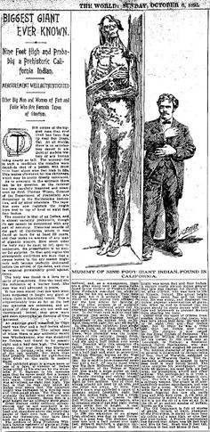 Giant skeletons have been reported in newspapers across the country.  These are the headlines of these mysterious finds.