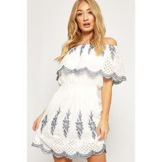 WearAll Bardot Layered Floral Lace Trim Lined Dress (315 SEK) ❤ liked on Polyvore featuring dresses, white, skater dress, boho summer dresses, white skater dress, summer dresses and floral summer dresses