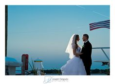 Wedding at the Oyster Point Hotel.  Some evening Bride and Groom photos on the dock.