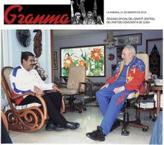CONTROLA VENEZUELA SIN SER VENEZOLANO. Véanle la cara e imbécil a NMM y de regocijo, felicidad y triunfo al malvado asesino Fidel CastroRuz.