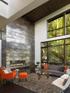 Great Room with Floor to Ceiling Fireplace modern living room