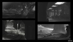 Environment Design B&W Thumbnail Sketches, James Paick on ArtStation at https://www.artstation.com/artwork/environment-design-b-w-thumbnail-sketches