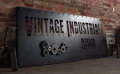 Vintage Industrial Bookshelf on Casters Mid by VintageIndustrial Industrial Signage, Industrial Bookshelf, Vintage Industrial Decor, Vintage Decor, Industrial Style, Custom Metal Signs, Outdoor Signage, Signage Design, Business Signs