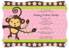 Monkey Girl - Baby Shower Invitations With Squiggle Shape $1.49