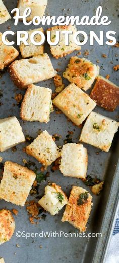 Homemade Croutons {with parmesan} – Spend With Pennies We love making these easy homemade croutons from bread at home. They're the perfect addition to salads, or a delicious snack! Fun Easy Recipes, Top Recipes, Lunch Recipes, Salad Recipes, Dinner Recipes, Easy Meals, Cooking Recipes, Healthy Recipes, How To Make Croutons
