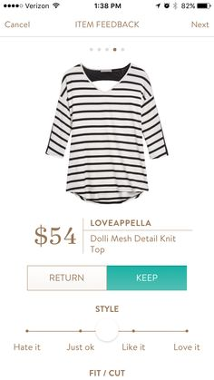 Loveappella Dolli Mesh Knit Detail Top-I love the V neck in front and the interesting open back w/ Mesh!!! https://www.stitchfix.com/referral/4757216