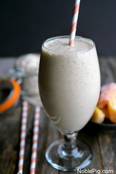 Peach Cinnamon Oatmeal Smoothie by noblepig. Hopefully add protein powder.