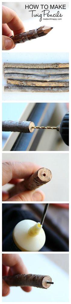 How to Make Twig Pencils – Branch Pencils DIY www.madewithhappy… How to Make Twig Pencils – Branch Pencils DIY www.madewithhappy… Pin: 700 x 3000 Wood Crafts, Fun Crafts, Arts And Crafts, Twig Crafts, Decor Crafts, Cool Diy, Easy Diy, Office Deco, Craft Tutorials