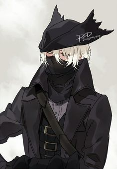 Anime boy, black outfit, hat, mask, white hair, cloak, cool; Anime Guys