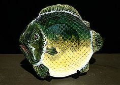 Set of Four French Antique Majolica Fish Plates