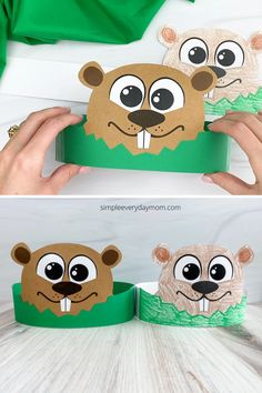 Need a last-minute groundhogs day activity to do with the kids? Try out this groundhog headband craft. Download the craft version or the black-and-white version for kids to color them. Groundhog Day Activities, Quiet Time Activities, Pre K Activities, Sensory Activities, Animal Crafts For Kids, Fun Crafts For Kids, Crafts To Do, Headband Crafts, Paper Bag Crafts