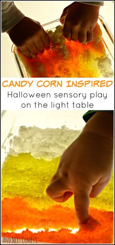 Candy corn inspired Halloween sensory play on the light table for toddlers and preschoolers from And Next Comes L