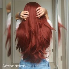 Auburn Straight Lace Front Synthetic Wig - Hairstyles For All Hair Color Dark, Cool Hair Color, Hair Colors, Ginger Hair, Synthetic Wigs, Ombre Hair, Red Ombre, Ombre Color, Blonde Hair