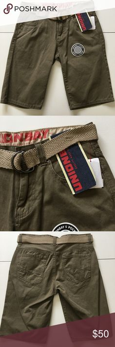 NWT Olive Khaki Belted Shorts Brand new with attached tags. Comes with belt. Men's size 30 waist... UNIONBAY Shorts Flat Front