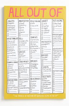 Knock Knock 'All Out Of' Grocery List Note Pad available at #Nordstrom