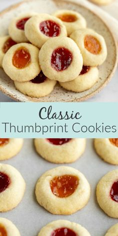 These delicious thumbprint cookies from Live Well Bake Often are my favorite thumbprint cookies. These cookies are soft and delicious buttery shortbread cookies filled with strawberry and apricot jam. These classic thumbprint cookies are the perfect easy recipe for the holidays or any occasion! #cookie #shortbread #Christmasbakingrecipe #holidayrecipe #thumbprintcookie