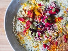 sprouted buckwheat and coconut yogurt breakfast bowl.