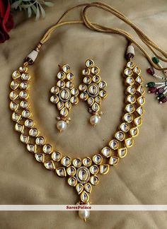 Shop White Alloy Necklace Set With Earrings 169290 online from huge collection of indian ethnic jewellery at m. Wedding Jewellery Inspiration, Indian Wedding Jewelry, Indian Jewelry, Bridal Jewelry, Jewelry Party, Indian Weddings, Kundan Jewellery Set, Fancy Jewellery, Stylish Jewelry