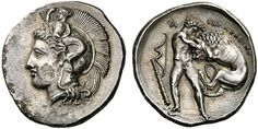 An Exceptional Greek Silver Nomos of Herakleia (Lucania), a Fine Representation of Herakles and the Nemean Lion Nemean Lion, Coin Art, Gold And Silver Coins, Early Christian, Greek Art, Medieval Art, Coin Collecting, Ancient Art, Artemis