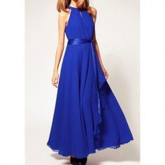 $15.14 Retro Style Round Neck Sleeveless Chiffon Long Dresses For Women
