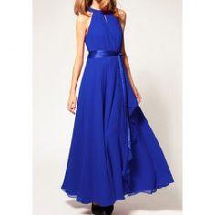 $15.28 Retro Style Round Neck Sleeveless Chiffon Long Dresses For Women