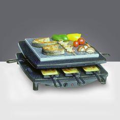 Nyolc raclette serpenyő Grill,acélvas és láva kőlapon Hőszabályzás Könnyed tisztíthatóság Megbízható minőség