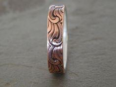 PAISLEY Silver & Copper 5mm // Men's Wedding Ring //