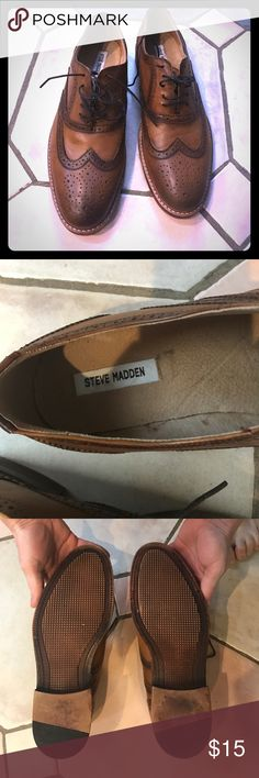 Steve Madden dress shoes Men's, dress shoes. Tan colored. Lightly used. Wore them twice. Steve Madden Shoes