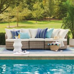 Alliance Wicker Sectional Collection Outdoor Loveseat, Outdoor Seating, Outdoor Ideas, Teak Adirondack Chairs, Teak Rocking Chair, Deep Seat Cushions, Metal Side Table, Wicker Sofa, Grandin Road