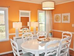 Decoration : Modern Dining Room Decorating By Color The Benefits from Decorating by Color Home Decor Colors Css Text-decoration Color' 2013 Decorating Colors as well as Decorations Orange Dining Room, Living Room Orange, Dining Room Colors, Dining Room Sets, Dining Room Design, Dinning Table, Table Lamp, Esstisch Design, Home Decor Colors