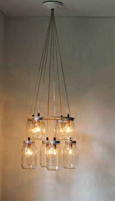 Double Decker MASON JAR Chandelier - Upcycled Hanging Mason Jar Lighting Fixture - BootsNGus Lamps Modern Country Rustic Home Decor