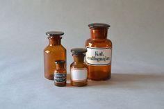 Vintage apothicaire bouteille pharmacie bouteille marron verre