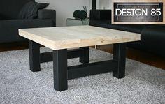 Robuuste salontafel met steigerhouten blad. Te bestellen via http://www.design85.nl/salontafel-ster.html