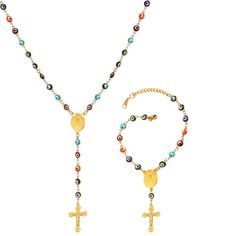 18K-Gold-Plate-Evil-Eyes-Rosary-Necklace-Cross-Bracelet-Jewelry-Sets-for-Women