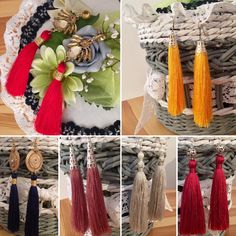 Earrings with tassels, silk thread, handmade, red, yellow, pink, blue,