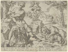 Dirck Volckertsz Coornhert | Benjamin, Dirck Volckertsz Coornhert, 1550 | Benjamin, de twaalfde en laatste zoon van Jakob. Naast Benjamin verslindt een wolf een schaap. Op de achtergrond een standbeeld, waarschijnlijk van een harpij. Alle attributen refereren naar Jakobs zegening van Benjamin in Genesis 49. De prent maakt deel uit van een serie over de twaalf zonen van Jakob en patriarchen van Israël en heeft een Nederlands en Latijns onderschrift.