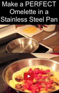How to make a PERFECT 2-egg omelet (omelette) in stainless steel cookware without it sticking.