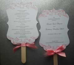 Sweet Romance Fan Wedding Program Set of 50 by theinspirednote, $112.50