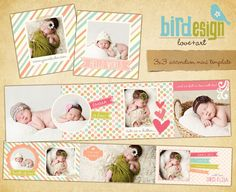 INSTANT DOWNLOAD Accordion mini template 3x3 Baby por birdesign