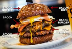This 'Merica Burger is basically 100% made of bacon!  Slater's 50/50 knows that all too well, so, in honor of our nation's birth, they created the 'Merica Burger, which isn't just topped with bacon... it's MADE of bacon, including two bacon patties topped with bacon, in addition to bacon cheese, bacon bits, and plenty of bacon grease.