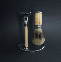 Shaving Set Hand Turned Spalted Tamarind Wood Stand by KEScarvings