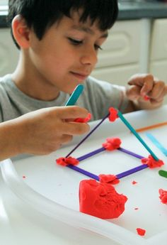building shapes from craft sticks. Fun and simple STEM activity for kids - building study - 3d Shapes Activities, Preschool Art Activities, Work Activities, 2d And 3d Shapes, Shapes For Kids, Craft Stick Crafts, Crafts For Kids, Craft Sticks, Toddler Crafts