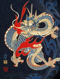 japanese dragon pattern | Japanese dragonfly fabric with chevron design on indigo -dragonflies ...
