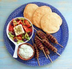 Lamb koftas, tzatziki & another greek salad recipe (but I think I'd use my other greek salad recipe cause it's better). Love greek food!!!
