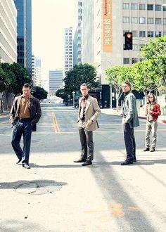 Tom Hardy, Joseph Gordon-Levitt, Ellen Page, Leonardo DiCaprio in Inception (2010)