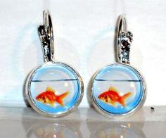 Ohrringe Fisch Damen Ohrschmuck Hänger Modeschmuck Glas Cabochon Neuware
